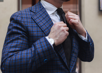 Checked-sport-coat-with-DLA-brown-shantung-tie